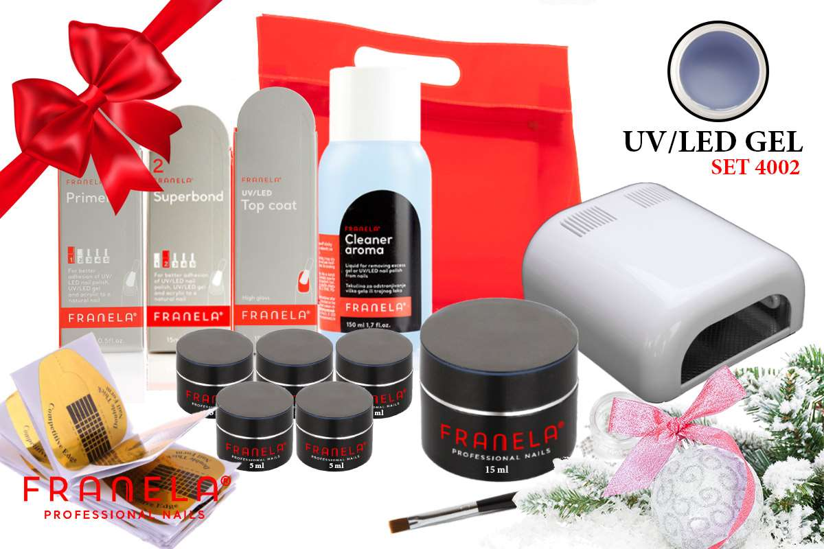 UV/LED gel set BASIC 15 ml i gel u boji + GRATIS UV lampa 36W