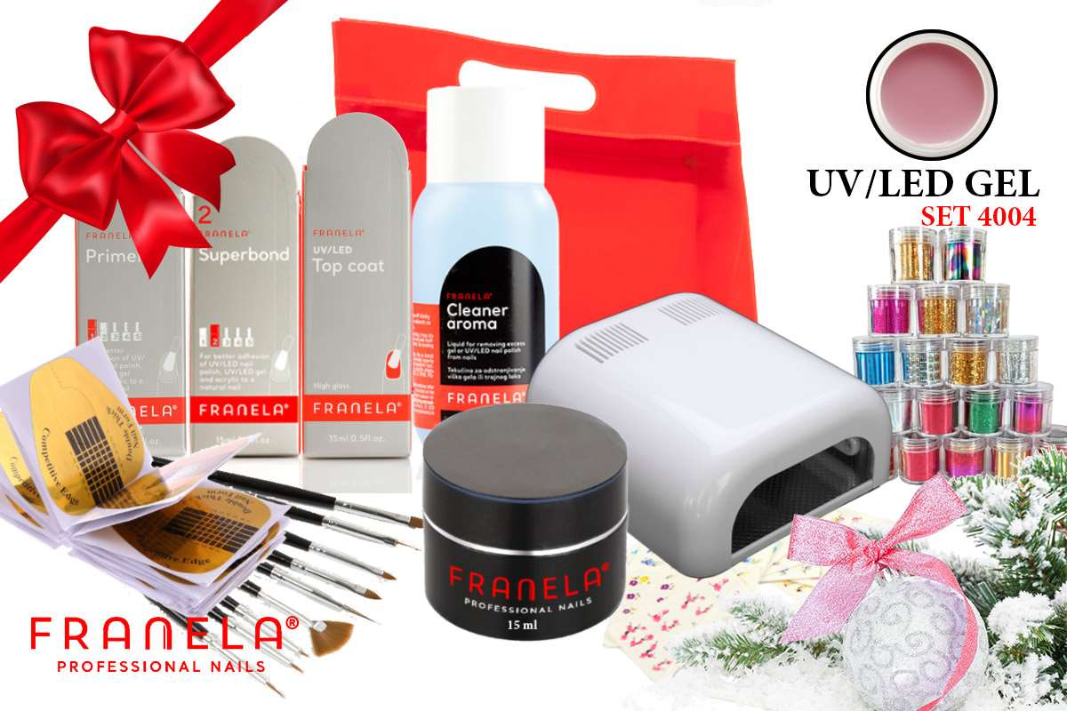 UV/LED gel set BASIC 15 ml i nail art + GRATIS UV lampa 36W i komplet 10 kistova