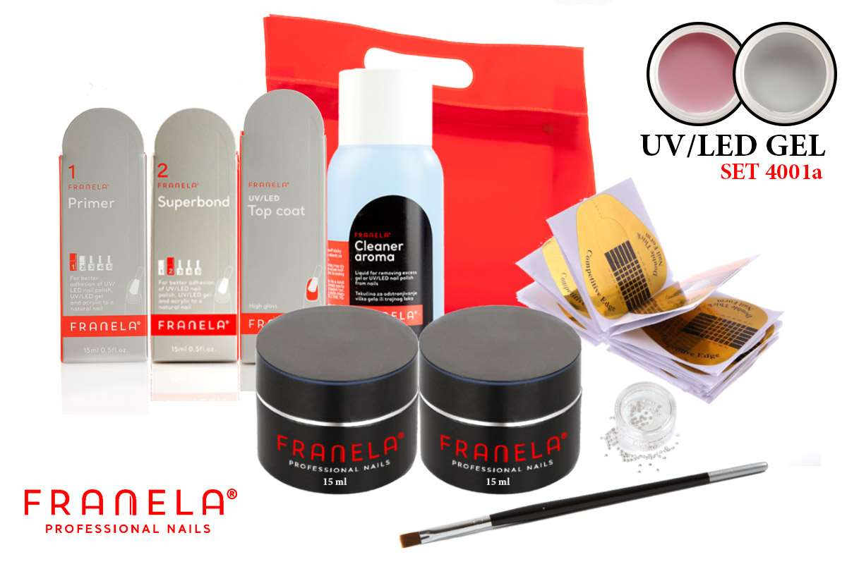 UV/LED gel set BASIC + GRATIS 2 x 15 ml UV/LED gel
