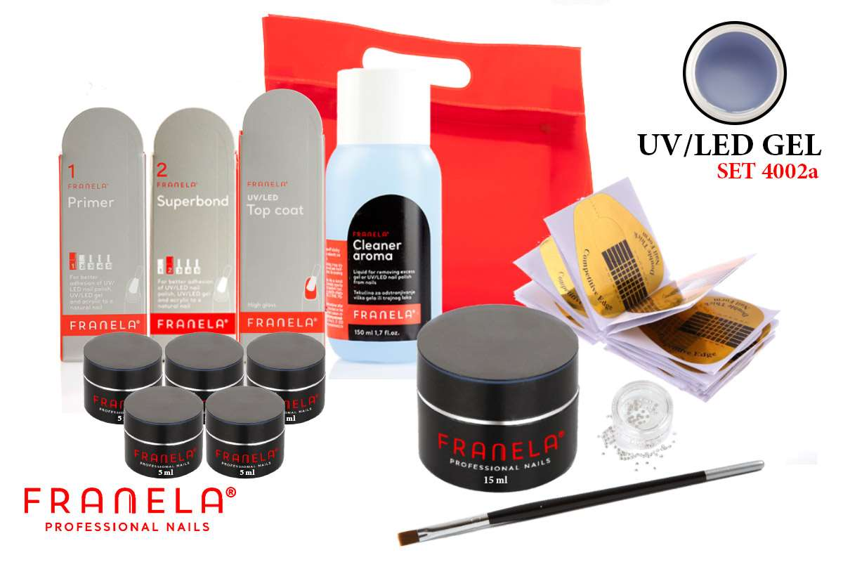 UV/LED gel set BASIC 15 ml + GRATIS 5 x UV/LED gel u boji 5 ml