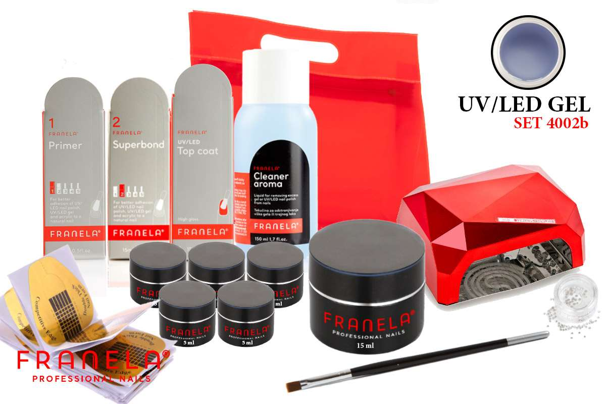 UV/LED gel set BASIC 15 ml i gel u boji + GRATIS LED lampa