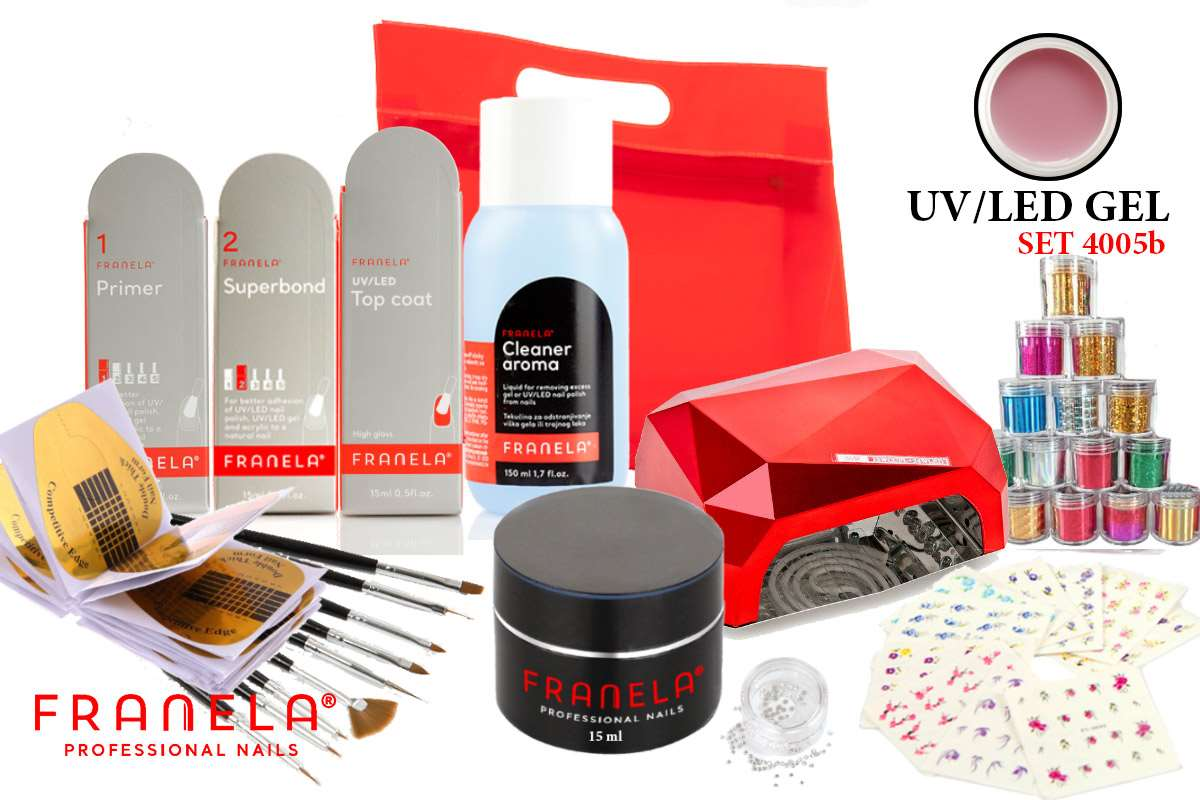 UV/LED gel set BASIC 15 ml i nail art + GRATIS LED lampa 36W