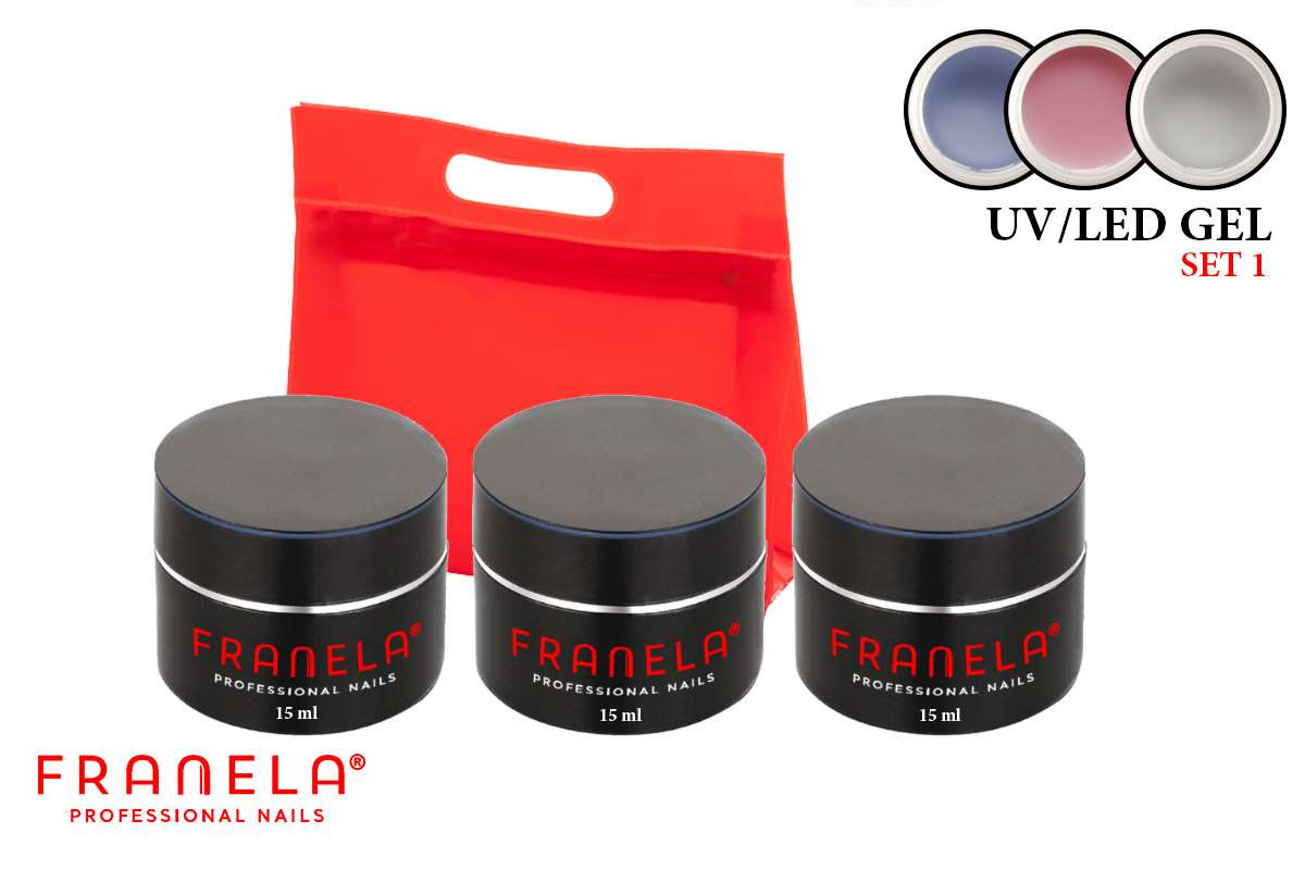 UV/LED gel set 15ml (2 kom) + 1 gratis 15 ml sjaj