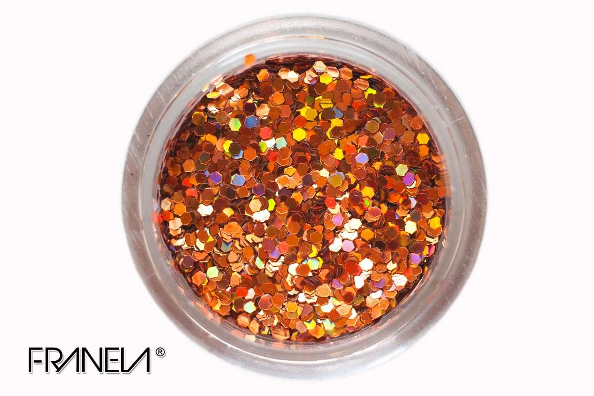 Glitter 15 - Cooper red hexagon, 1 mm