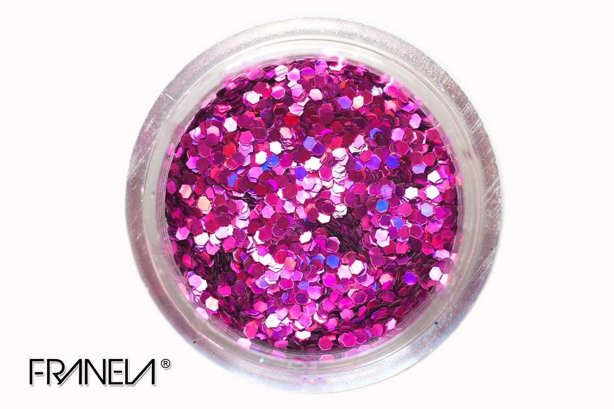 Glitter 25 - Fuchsia hexagon, 1mm