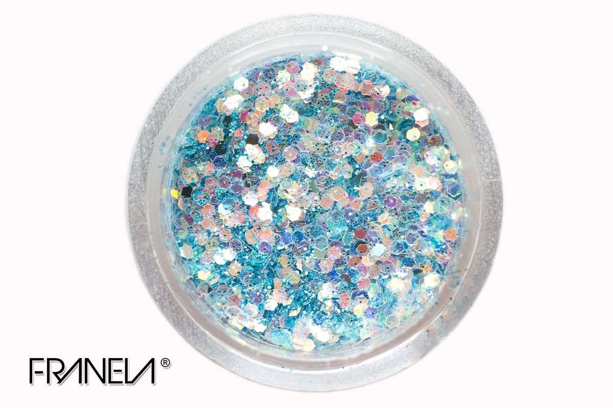 Glitter 41 - Blue hexagon, 1mm