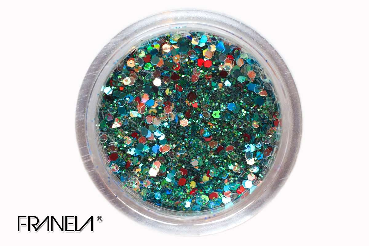Glitter 49 - Tirquise blue mix, 0,1 + 1 mm