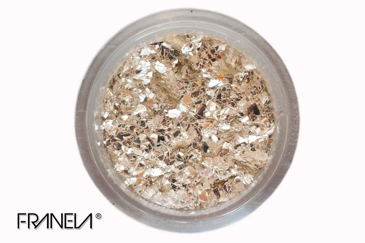 Glitter 08 - Golden white flakes, 0,2 mm