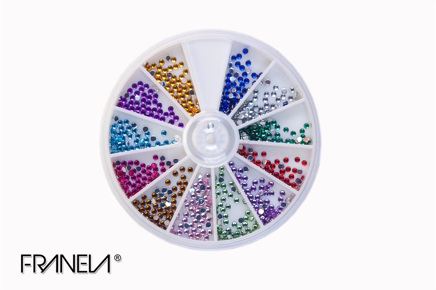 Rhinestones, 2 mm, 12 colors (600 pcs)