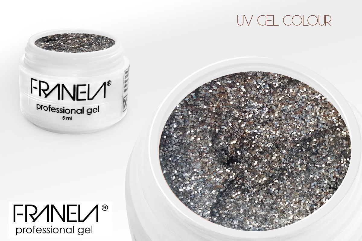 5108 UV glitter gel - tiny silver glitter, 5ml