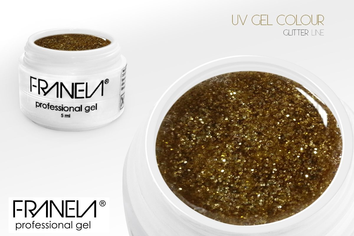 55GL02 UV glitter gel Franela - gold, 5ml