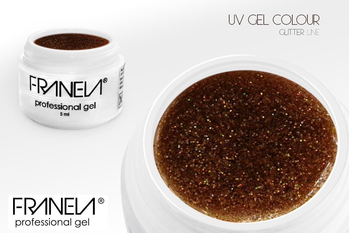 55GL03 UV glitter gel Franela - gold, 5ml