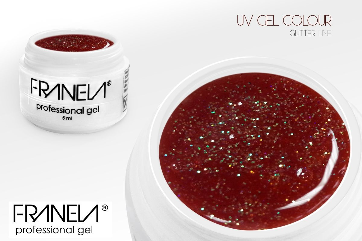 55GL13 UV glitter gel Franela - soft red, 5ml