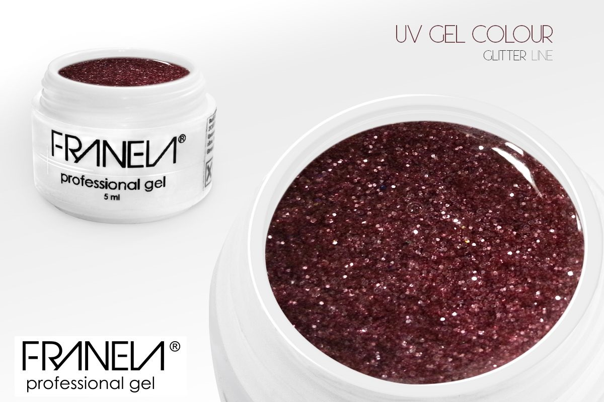 55GL14 UV glitter gel Franela - rose, 5ml