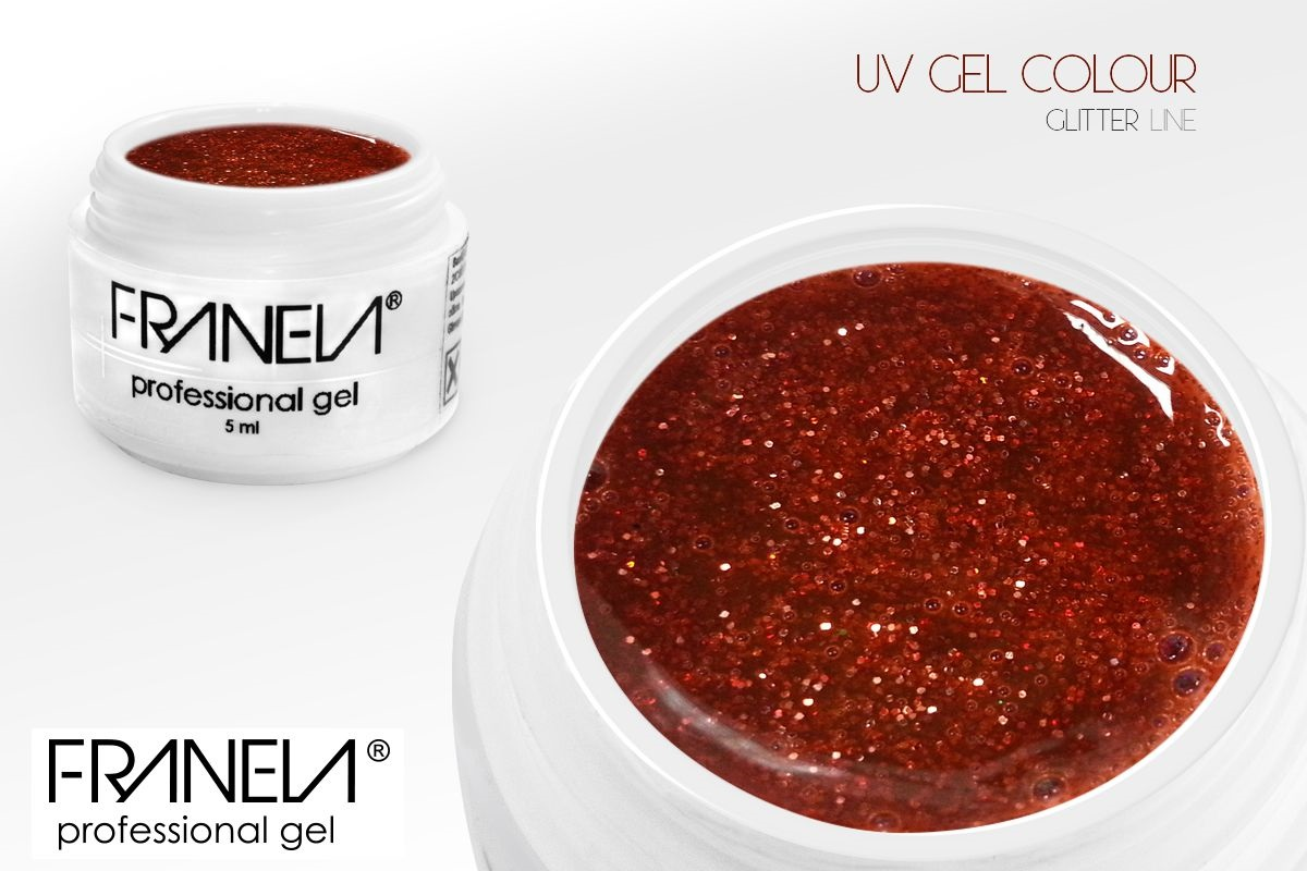 55GL15 UV glitter Franela - red, 5ml