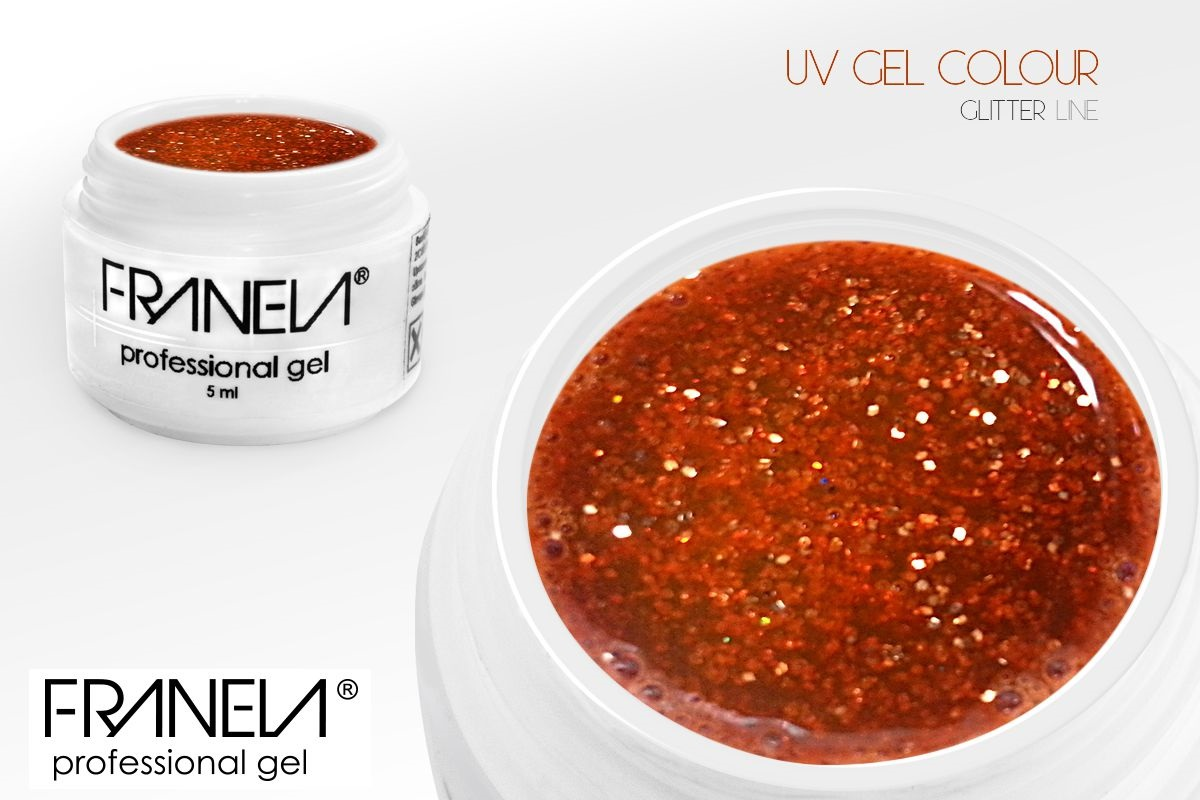 55GL16 UV glitter gel Franela - orange-red, 5ml