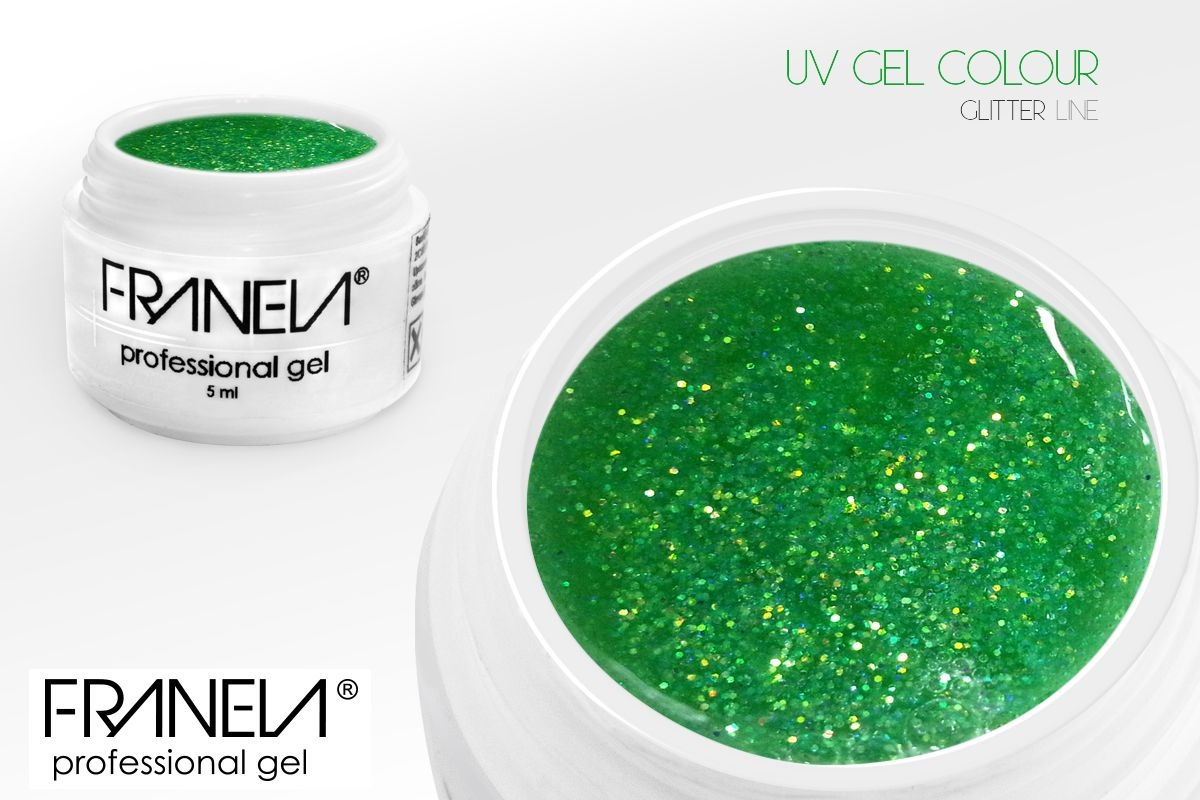 55GL22 UV glitter gel Franela - soft green, 5ml