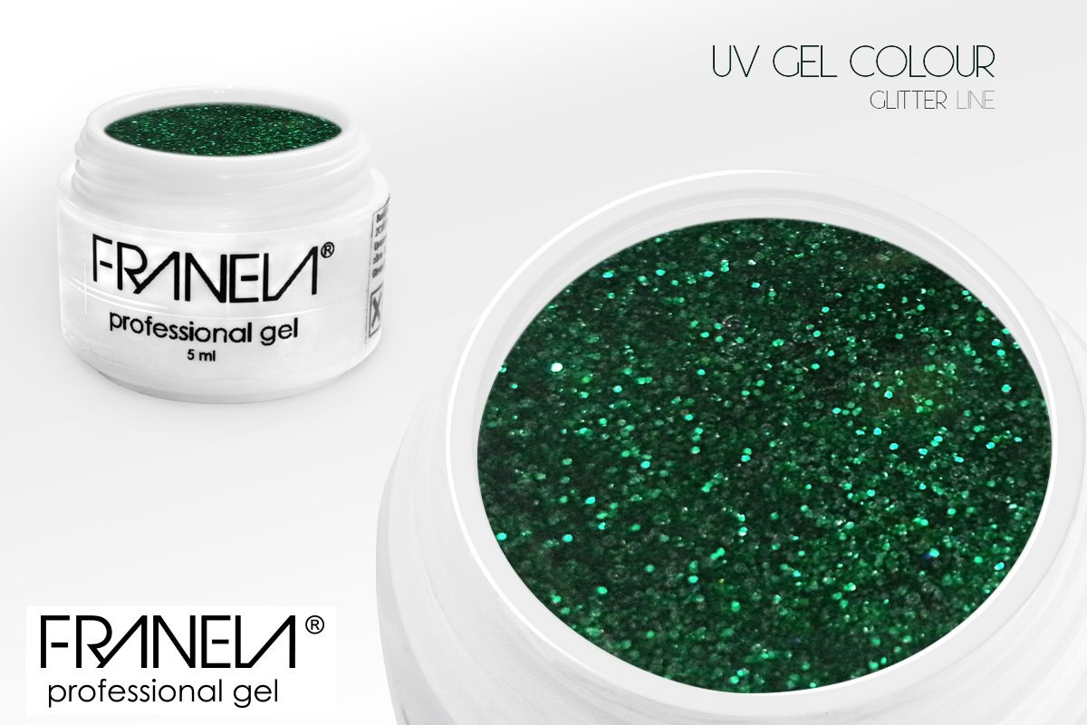 55GL23 UV glitter gel Franela - green, 5ml