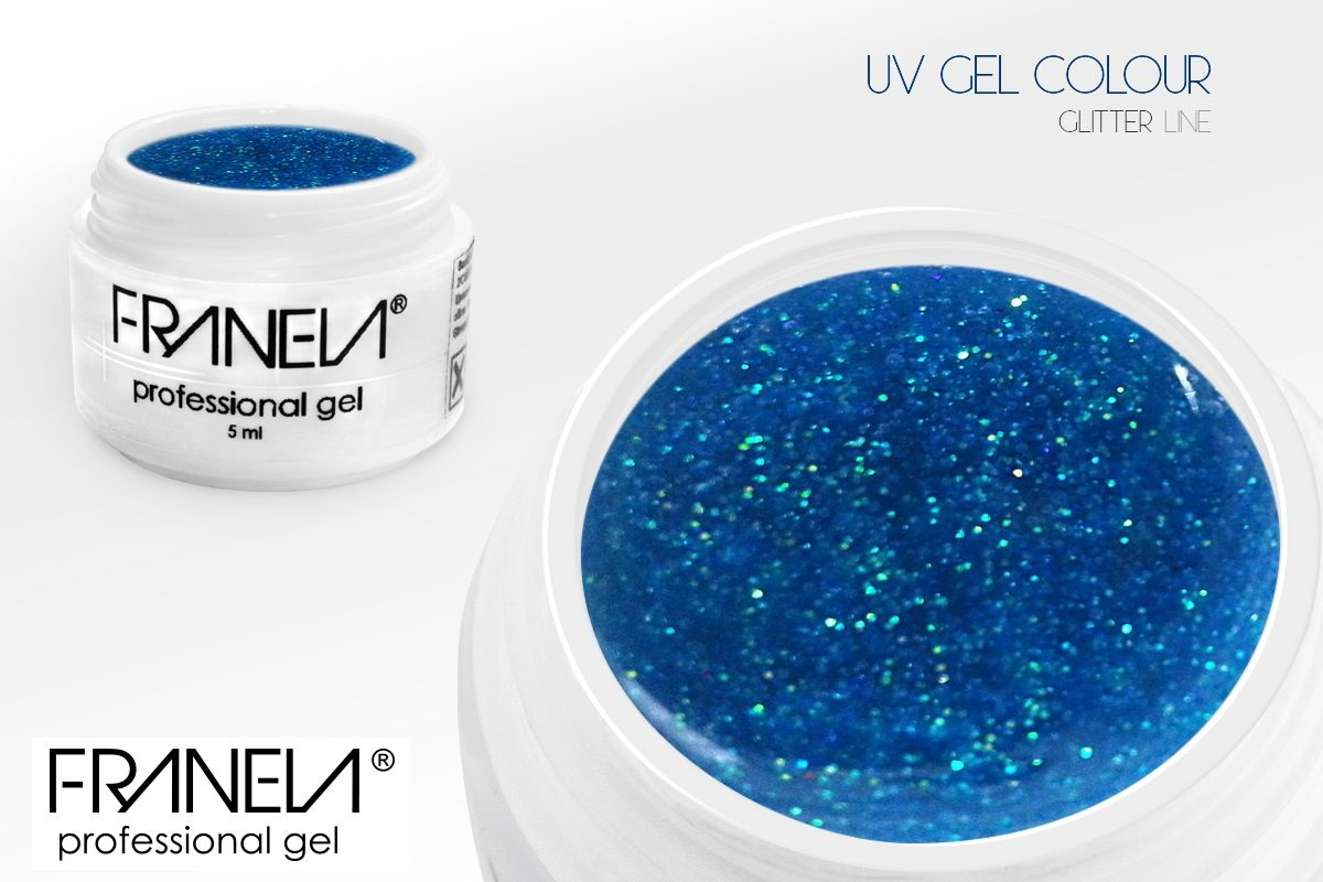 55GL24 UV glitter gel Franela - light blue, 5ml